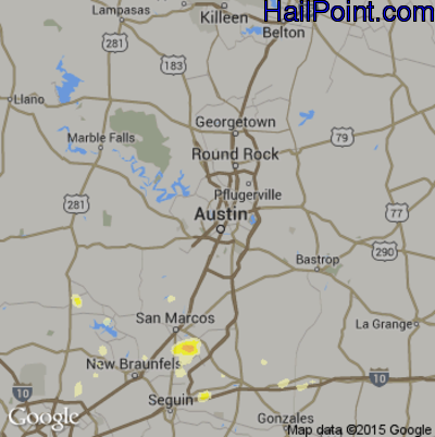 Hail Map for Austin, TX Region on May 30, 2015