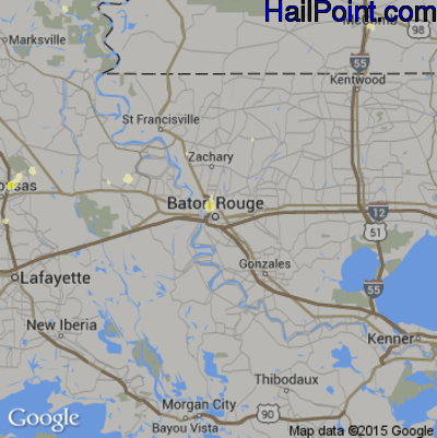 Hail Map for Baton Rouge, LA Region on May 30, 2015