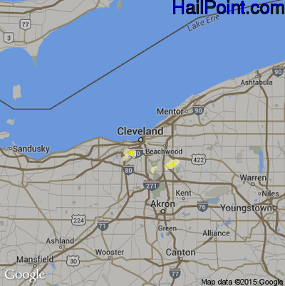 Hail Map for Cleveland, OH Region on May 30, 2015