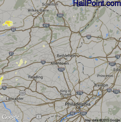 Hail Map for Allentown, PA Region on May 31, 2015