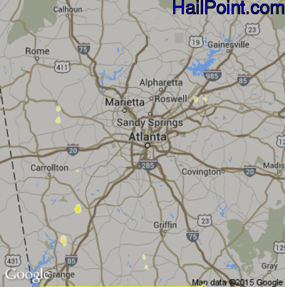 Hail Map for Atlanta, GA Region on May 31, 2015