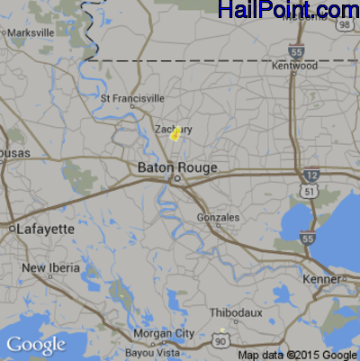 Hail Map for Baton Rouge, LA Region on May 31, 2015