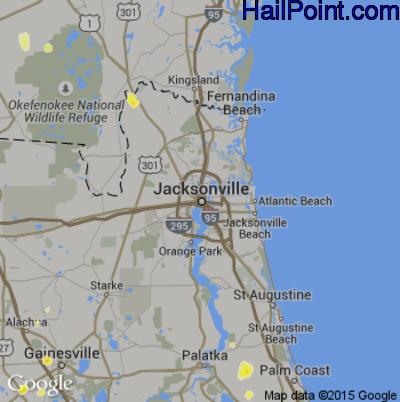 Hail Map for Jacksonville, FL Region on June 1, 2015