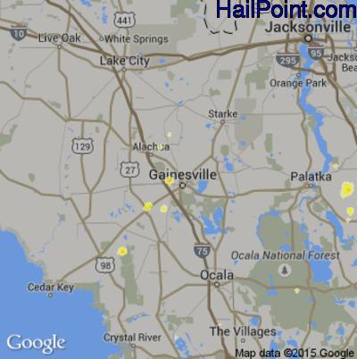 Hail Map for Gainesville, FL Region on June 1, 2015