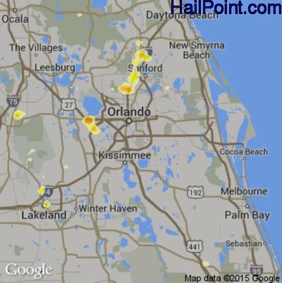 Hail Map for Orlando, FL Region on June 1, 2015