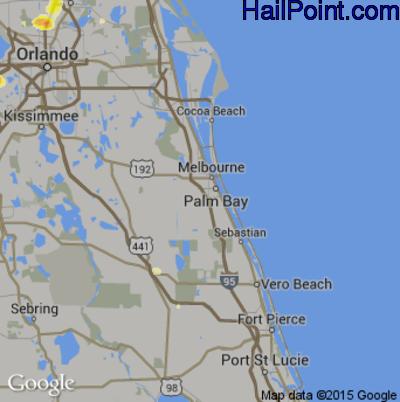 Hail Map for Palm Bay, FL Region on June 1, 2015