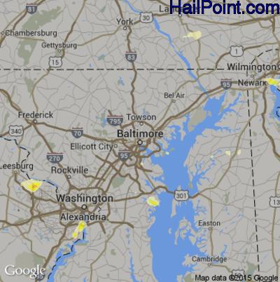 Hail Map for Baltimore, MD Region on June 1, 2015