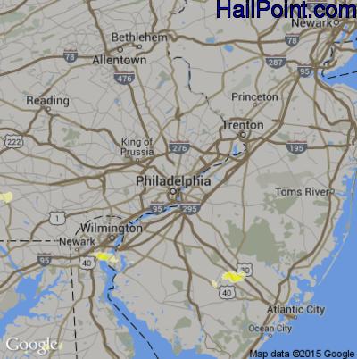Hail Map for Philadelphia, PA Region on June 1, 2015
