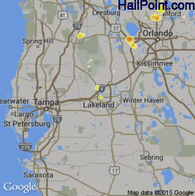 Hail Map for Lakeland, FL Region on June 1, 2015