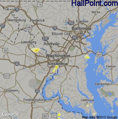 Hail Map for Washington, DC Region on June 1, 2015