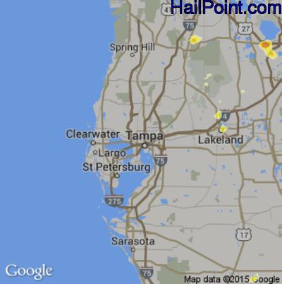 Hail Map for Tampa, FL Region on June 1, 2015