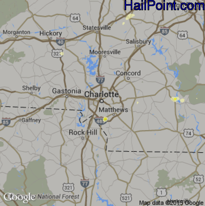 Hail Map for Charlotte, NC Region on June 2, 2015