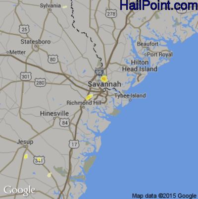 Hail Map for Savannah, GA Region on June 2, 2015