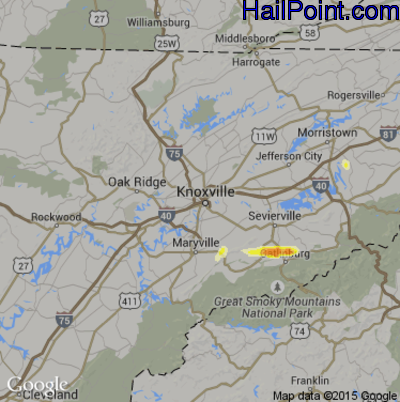 Hail Map for Knoxville, TN Region on June 2, 2015