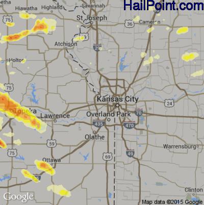 Hail Map for Kansas City, KS Region on June 3, 2015