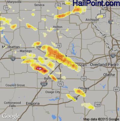 Hail Map for Topeka, KS Region on June 3, 2015