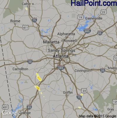 Hail Map for Atlanta, GA Region on June 3, 2015