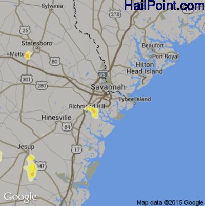 Hail Map for Savannah, GA Region on June 3, 2015