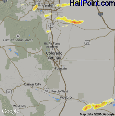 Hail Map for Colorado Springs, CO Region on June 3, 2015