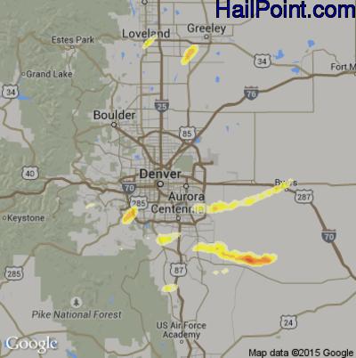 Hail Map for Denver, CO Region on June 3, 2015