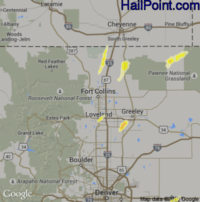 Hail Map for Fort Collins, CO Region on June 4, 2015