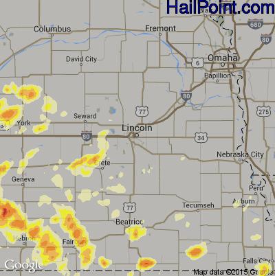 Hail Map for Lincoln, NE Region on June 4, 2015