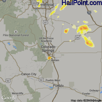 Hail Map for Colorado Springs, CO Region on June 4, 2015