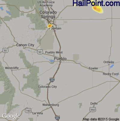 Hail Map for Pueblo, CO Region on June 4, 2015