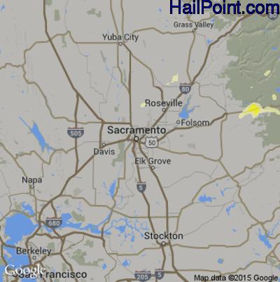 Hail Map for Sacramento, CA Region on June 5, 2015