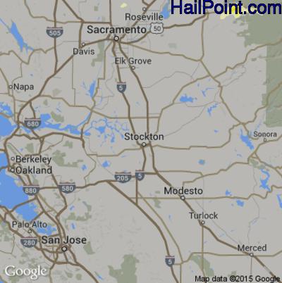 Hail Map for Stockton, CA Region on June 5, 2015
