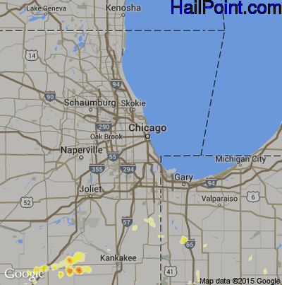 Hail Map for Chicago, IL Region on June 7, 2015