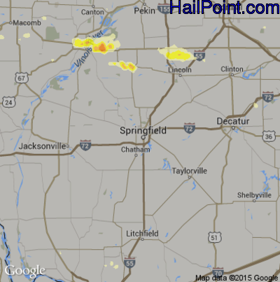 Hail Map for Springfield, IL Region on June 7, 2015