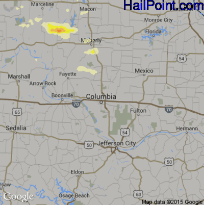 Hail Map for Columbia, MO Region on June 8, 2015
