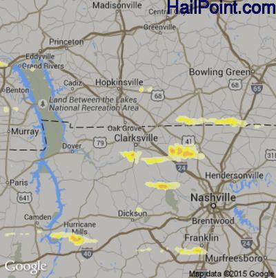 Hail Map for Clarksville, TN Region on June 8, 2015