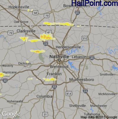 Hail Map for Nashville, TN Region on June 8, 2015