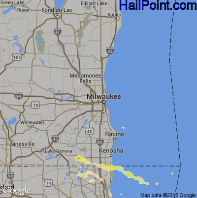 Hail Map for Milwaukee, WI Region on June 8, 2015