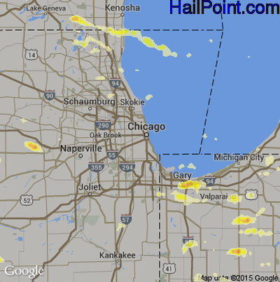 Hail Map for Chicago, IL Region on June 8, 2015