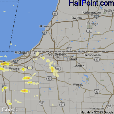 Hail Map for South Bend, IN Region on June 8, 2015
