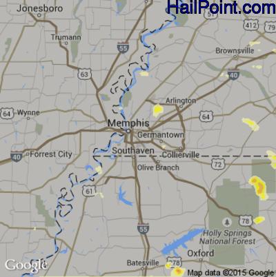 Hail Map for Memphis, TN Region on June 8, 2015