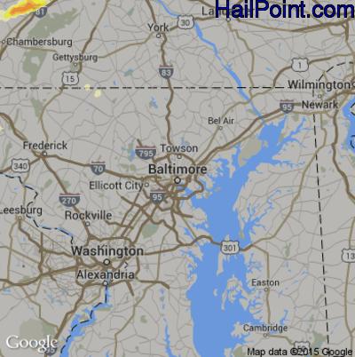 Hail Map for Baltimore, MD Region on June 8, 2015