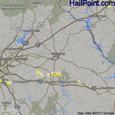 Hail Map for Athens, GA Region on June 9, 2015