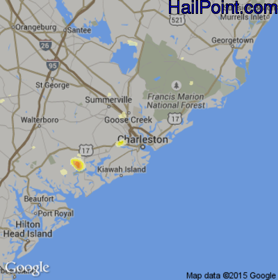 Hail Map for Charleston, SC Region on June 9, 2015