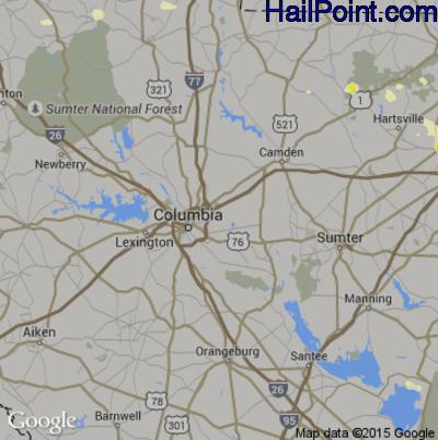 Hail Map for Columbia, SC Region on June 9, 2015
