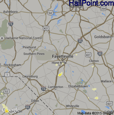 Hail Map for Fayetteville, NC Region on June 9, 2015