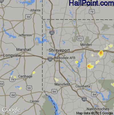 Hail Map for Shreveport, LA Region on June 9, 2015