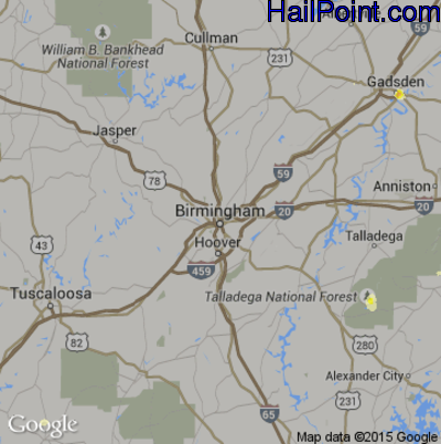 Hail Map for Birmingham, AL Region on June 10, 2015