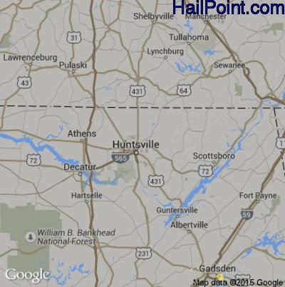 Hail Map for Huntsville, AL Region on June 10, 2015