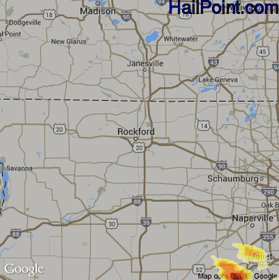 Hail Map for Rockford, IL Region on June 10, 2015