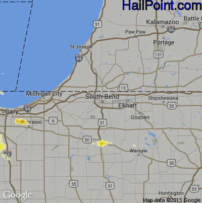 Hail Map for South Bend, IN Region on June 10, 2015