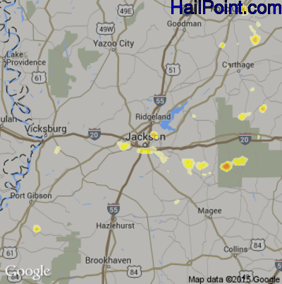 Hail Map for Jackson, MS Region on June 10, 2015